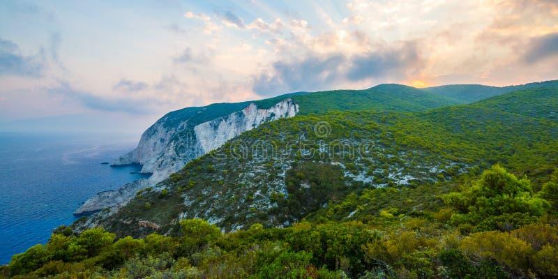 Kampi, de plaats voor de mooiste zonsondergang in het eiland van Zakynthos royalty-vrije stock foto's