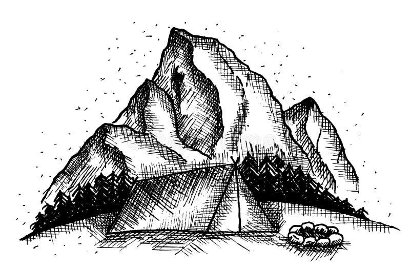 Kampieren auf Hügel vektor abbildung