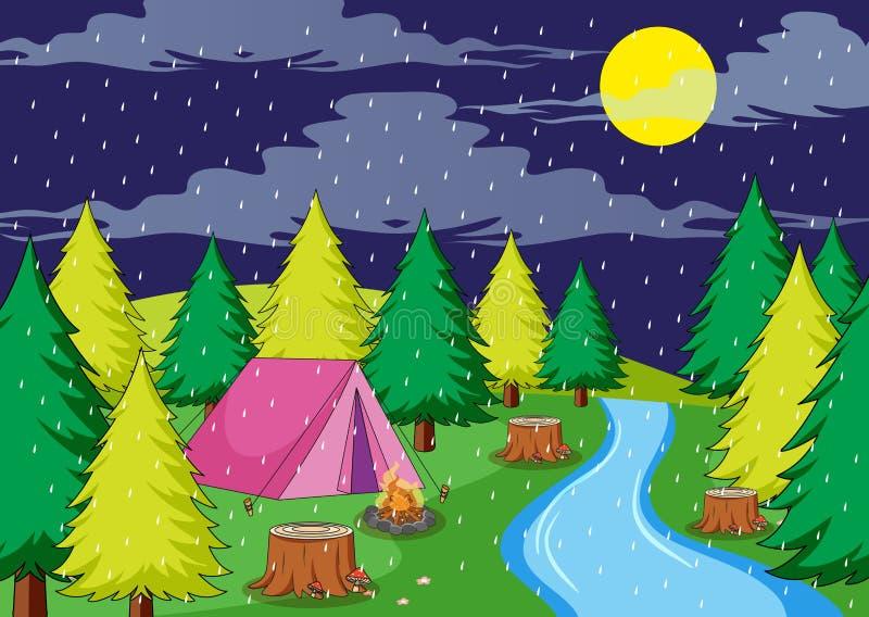 Kampieren in der regnerischen Nacht lizenzfreie abbildung