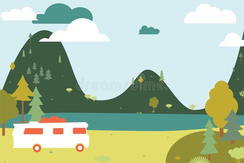 Kampieren hölzern mit Zelt und Bus. vektor abbildung