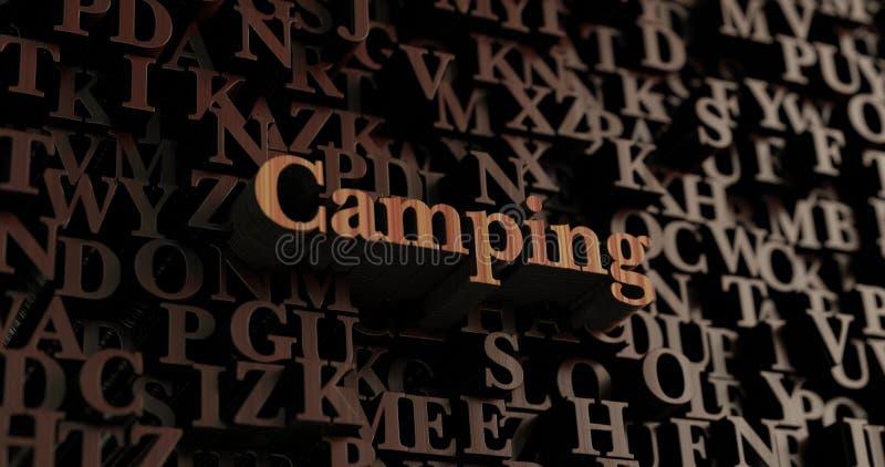 Kampieren - hölzernes 3D übertrug Buchstaben/Mitteilung vektor abbildung