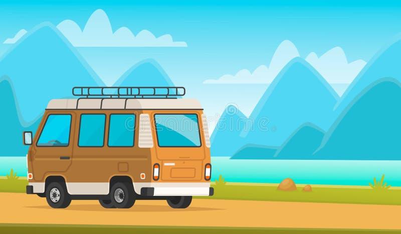 kampieren Mehrzweckfahrzeug auf einem Hintergrund der Gebirgslandschaft und des Sees Eine Reise zur Natur lizenzfreie abbildung