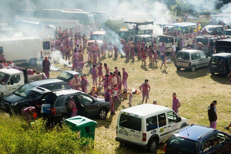 Kampieren nach Haro Wine Festival-Festival stockfoto
