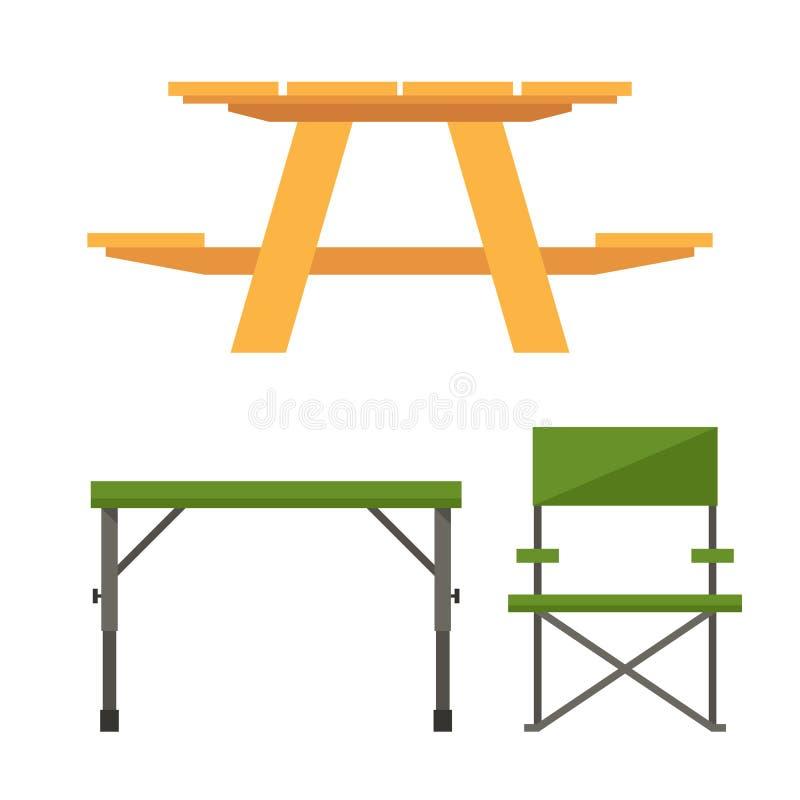 Kampieren und Picknicktisch stock abbildung