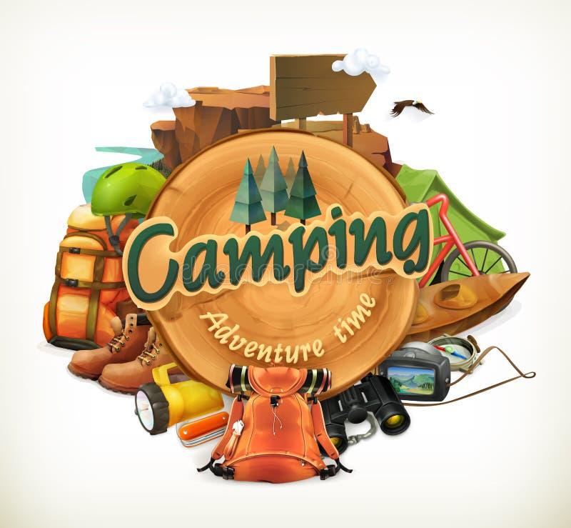 Kampierende Abenteuerzeit-Vektorillustration lizenzfreie abbildung
