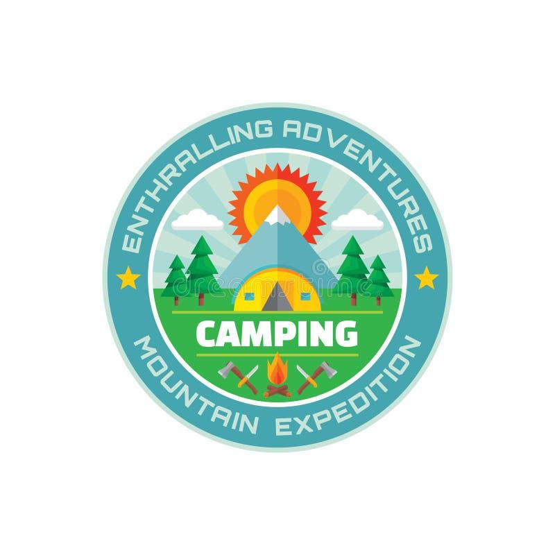 Kampierende - fesselnde Abenteuer - Gebirgsexpedition - vector Ausweisillustration in der flachen Art lizenzfreie abbildung