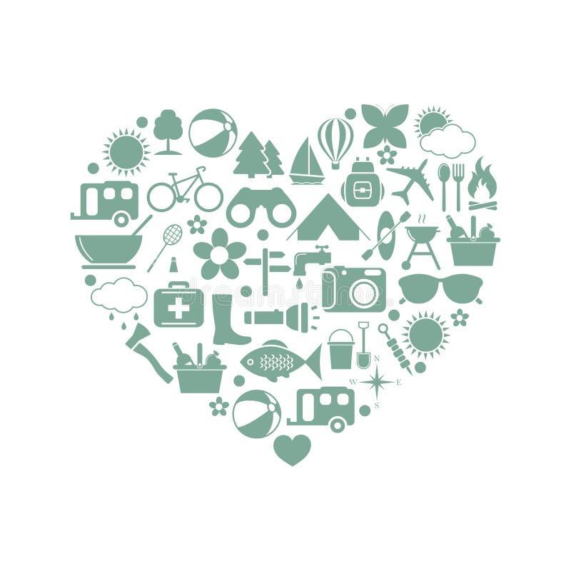 Kampierende Ikonen im Herzen vektor abbildung