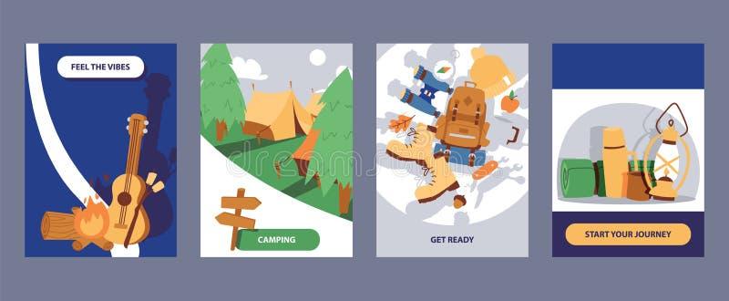 Kampierende Kartensatzillustration Karikatur, die Elemente im Freien wandert Glauben Sie den Schwingungen Werden Sie fertig Begin lizenzfreie abbildung