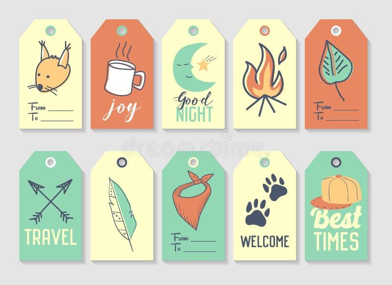 Kampierende Tags und Aufkleber-freihändige Art Picknick und Reise stock abbildung