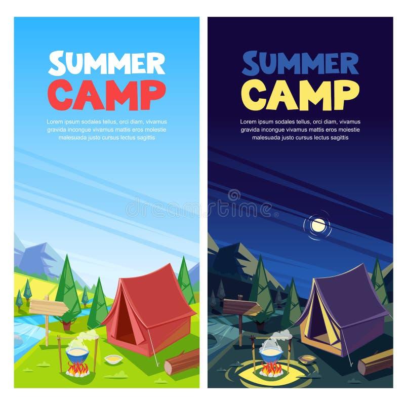 Kampierende Vektorfahne des Sommers, Plakatdesignschablone Abenteuer-, Reise- und ecotourismuskonzept Touristisches Lagerzelt lizenzfreie abbildung