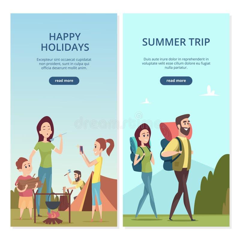 Kampierende Vektorfahnen des Sommers Familienreise und Reiseillustration stock abbildung