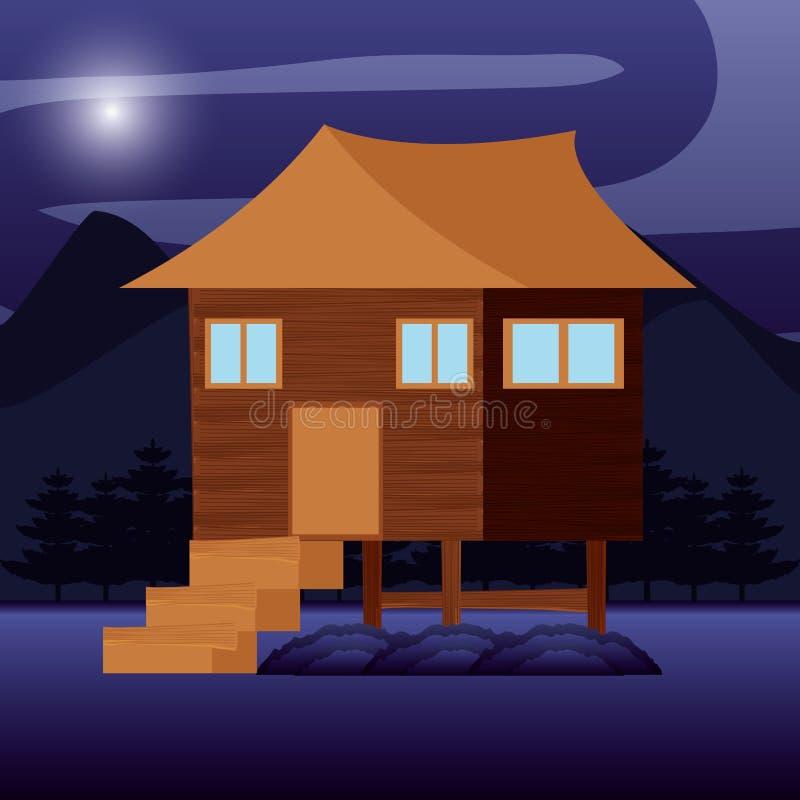 Kampierende Zone mit dem Haus hölzern lizenzfreie abbildung