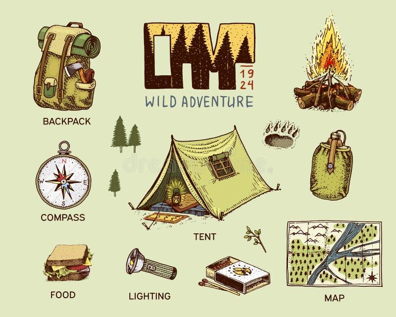 Kampierender Ausrüstungssatz, Abenteuer im Freien, wandernd Reisender Mann mit Gepäck Tourismusreise gravierte Hand gezeichnet in stock abbildung
