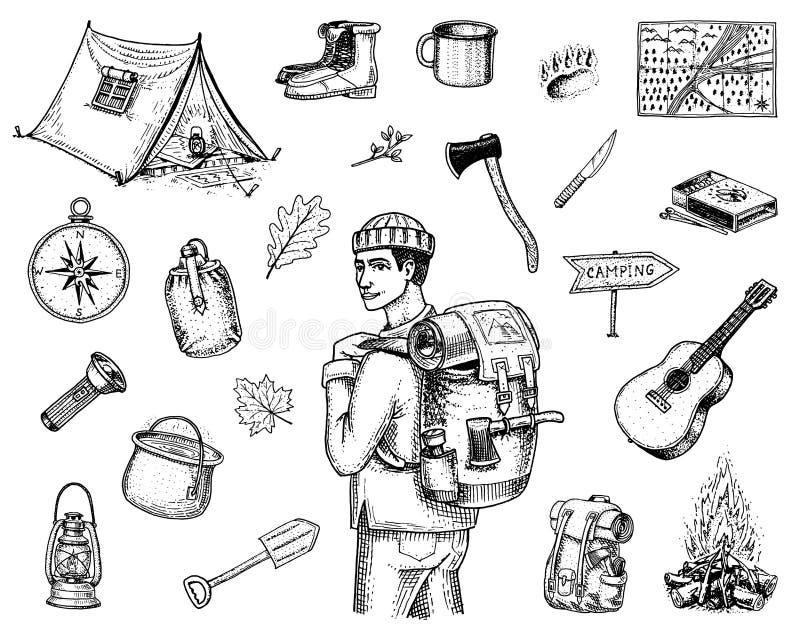 Kampierender Ausrüstungssatz, Abenteuer im Freien, wandernd Reisender Mann mit Gepäck Tourismusreise graviertes Hand gezeichnetes lizenzfreie abbildung