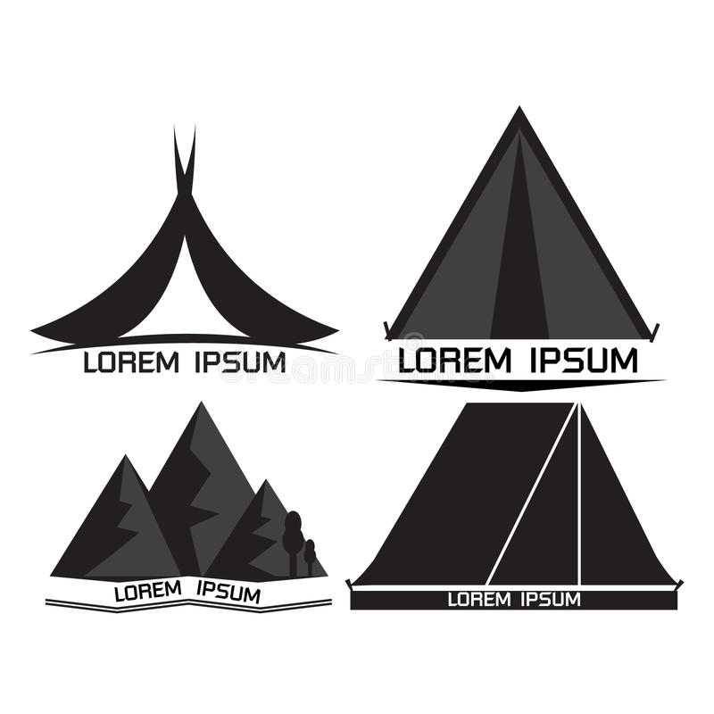 Kampierender Logosatz lizenzfreie stockfotos