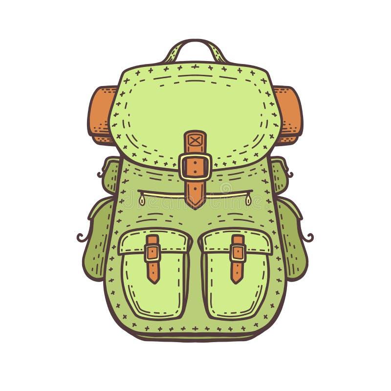 Kampierender Rucksack Reise und Freizeitrucksack Sommerreise - Illustration vektor abbildung