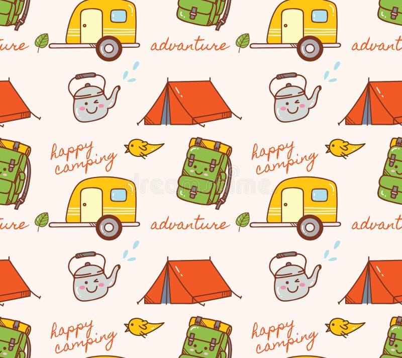 Kampierender themenorientierter nahtloser Hintergrund mit Zelt und Wohnwagen vektor abbildung