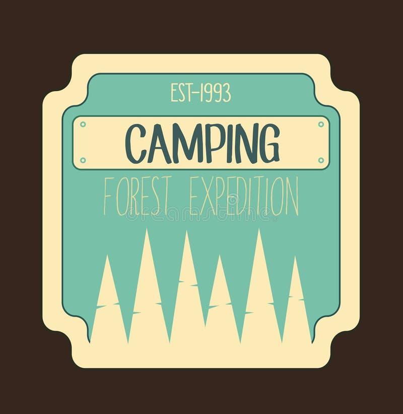 Kampierender Waldexpeditionsausweis Logo im Freien und Emblem lizenzfreie stockbilder