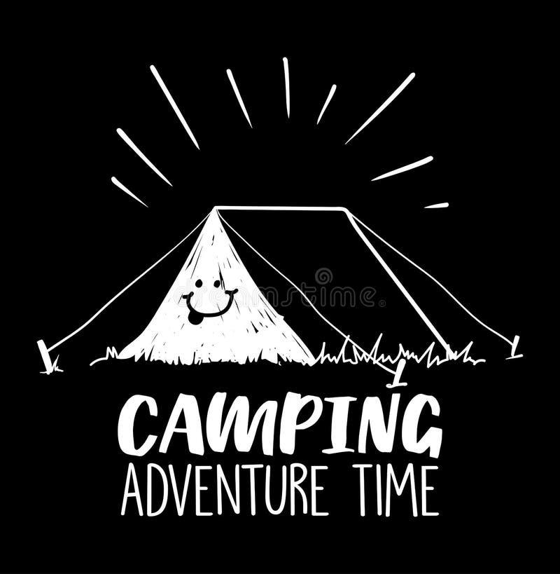 Kampierendes Abenteuer setzen Zeit Illustration mit Zelt und Lächeln auf ihm fest vektor abbildung