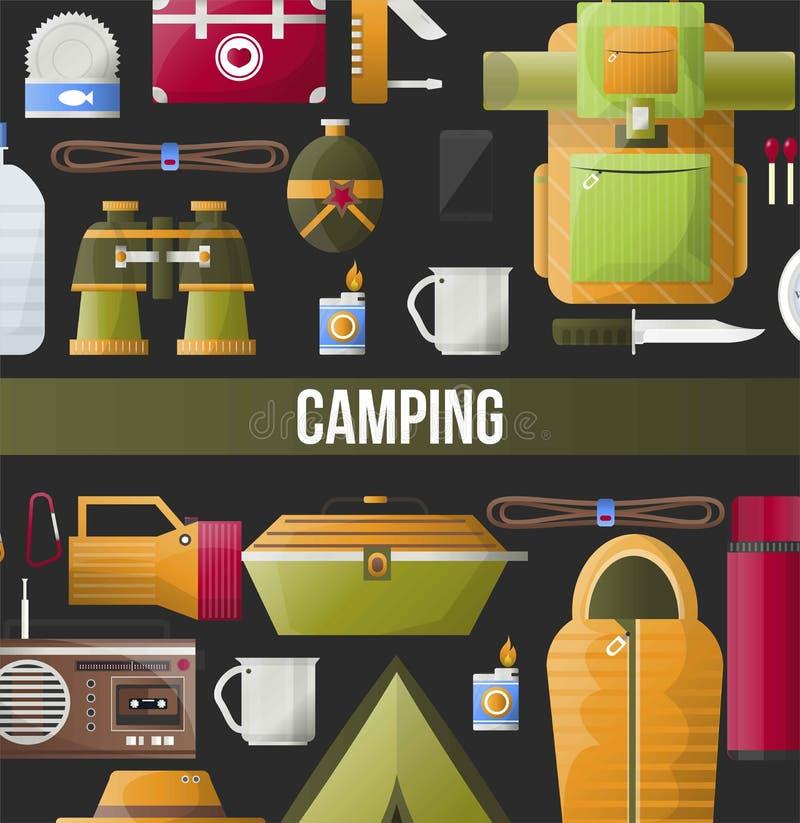Kampierendes Abenteuerplakat für Sommerlager schlagen mit einer Keule oder kundschaften Expedition vektor abbildung