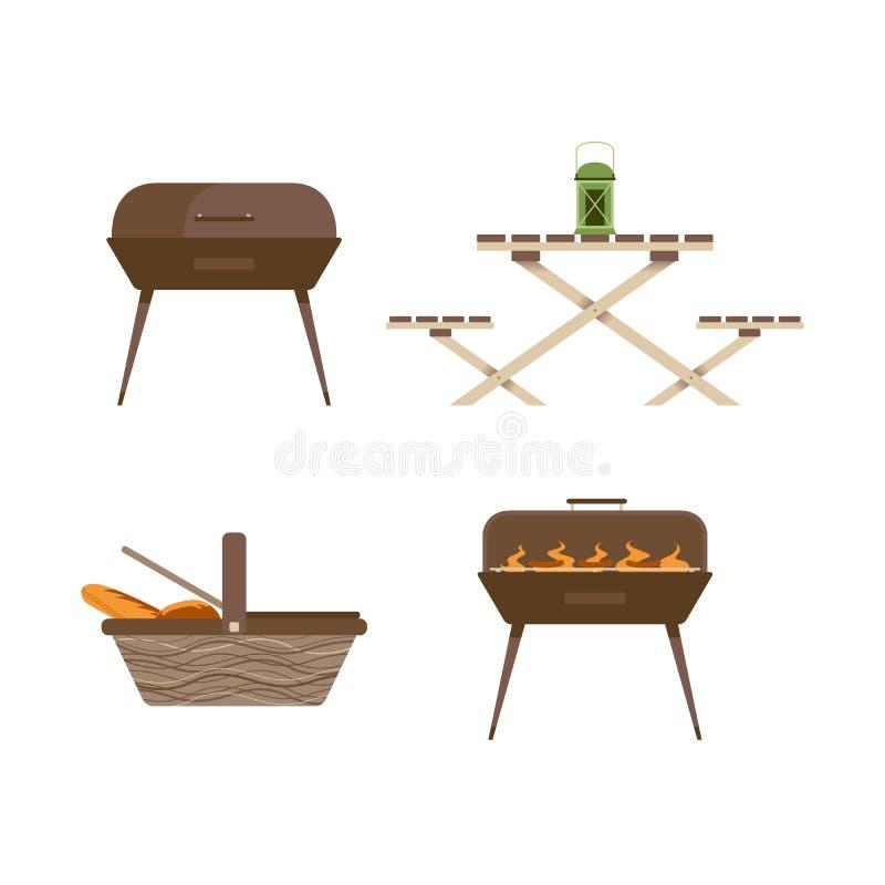 Kampierendes Picknick-Inventar und Ausrüstung lokalisierter Satz stock abbildung