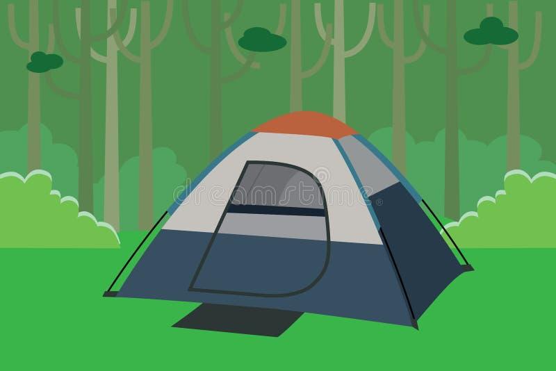 Kampierendes Zelt der Dschungel mit Bäumen im Wald lizenzfreie abbildung