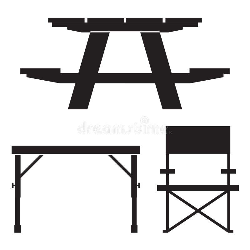 Kampierenund Picknicktisch-Ikonen stock abbildung