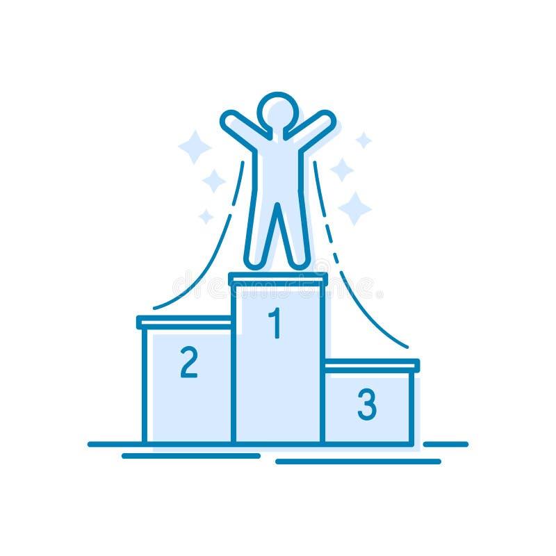 Kampioen in eerste plaats Het dunne concept van het lijnontwerp voor succes, toekenning, elementen van voltooiing, hoogste succes vector illustratie