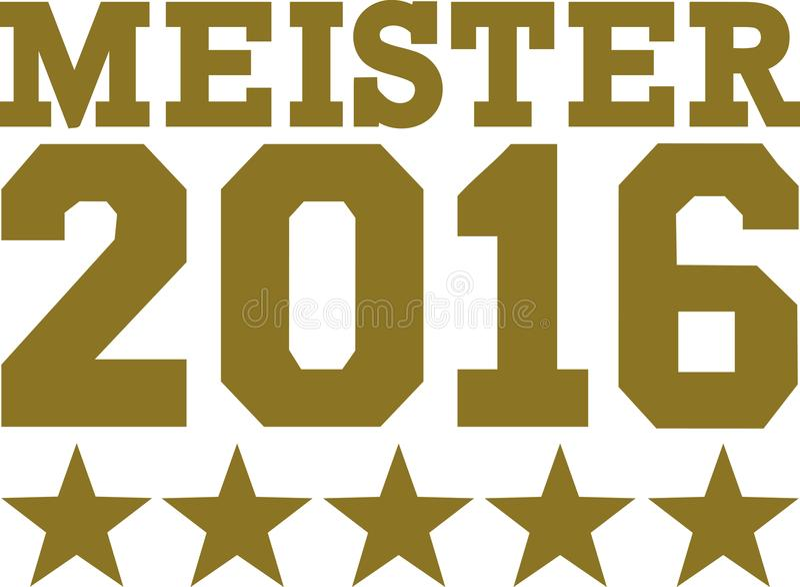 Kampioen 2016 met sterren het Duits vector illustratie