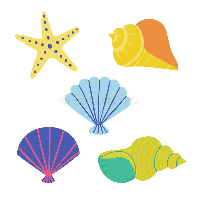 Kampioen overzeese shells en zeesteretiketten handdraw plaats illustratie stock illustratie