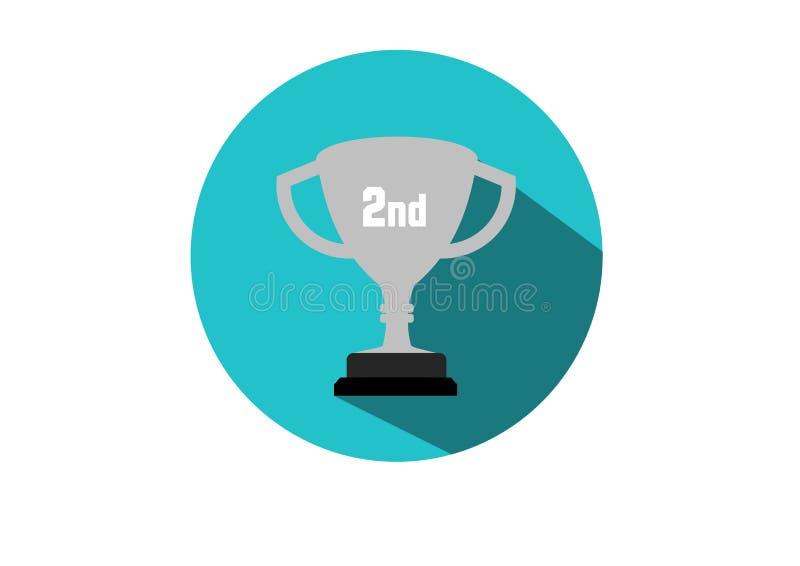Kampioen van de trofee de vlakke 2de Kop vector illustratie