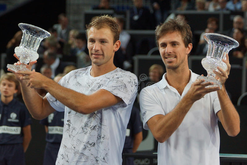 Kampioenen Lukasz Kubot (POL.) en Edouard Roger-Vasselin (FRA) royalty-vrije stock afbeeldingen