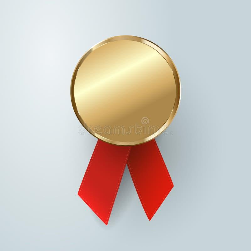 Kampioens gouden medaille winnaartrofee, gouden medaille, sport, eerst, beste, rood lint, muntstuk, prijs royalty-vrije illustratie