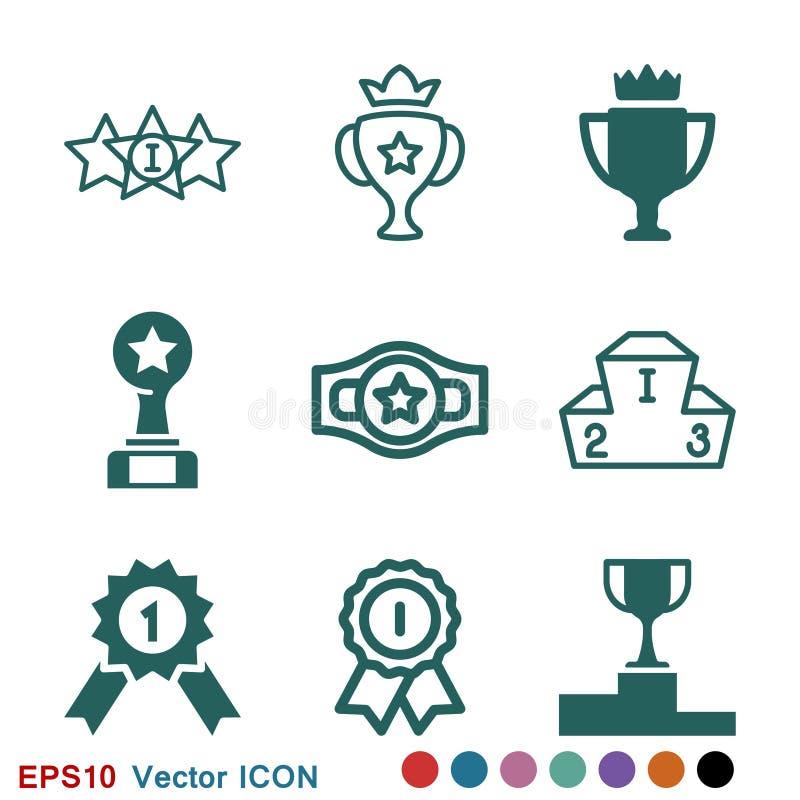 Kampioens vectorpictogram, vlak ontwerp voor Web of mobiele toepassing, toekenningssymbool stock illustratie
