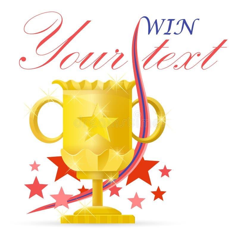 Kampioenskop Winnaar gouden kop met rood lint Trofee en toekenningspictogrammen Vector illustratie op witte achtergrond royalty-vrije illustratie
