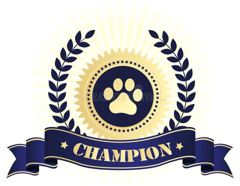 Kampioensverbinding met de druk van de hondpoot royalty-vrije illustratie