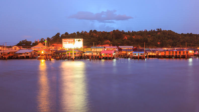 Kampong Ayer. Water village of Kampong Ayer in sunset, Bandar Seri Begawan, Brunei, Southeast Asia stock image