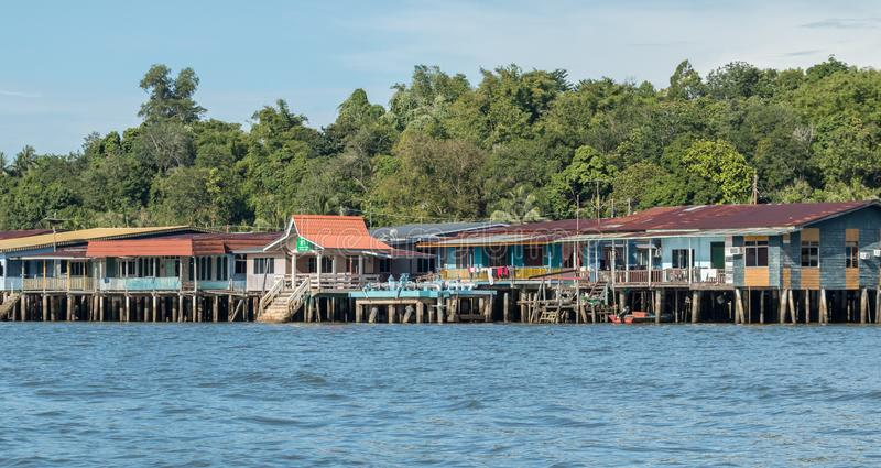 Kampong Ayer wody wioska w Bandar Seri Begawan, Brunei fotografia royalty free