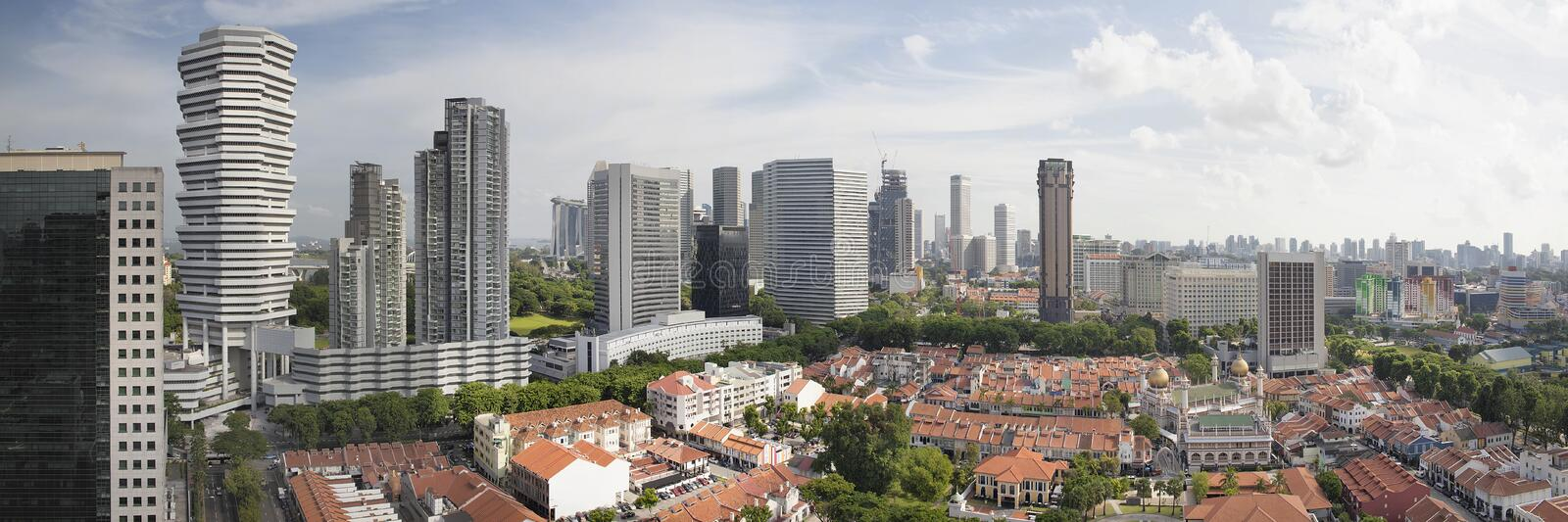 Kampong Glam in Singapore Aerial View Panorama royalty free stock photography