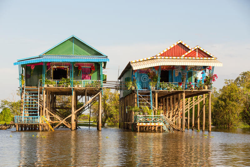 Kampong Phluk floating village. Floating houses at Kampong Phluk floating village within Tonle Sap, freshwater lake in Cambodia and the largest freshwater lake royalty free stock photography