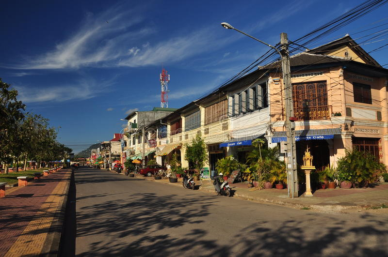Kampot French colonial architecture, Cambodia. The colonial town of Kampot, Cambodia. Typical French Indochina architecture stock photography