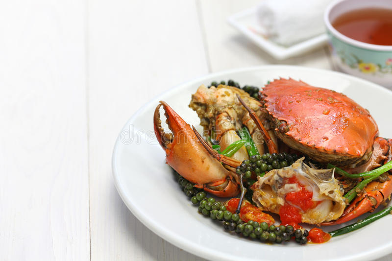Kampot green pepper crab. Stir-fried crab with green kampot pepper, cambodian cuisine stock image