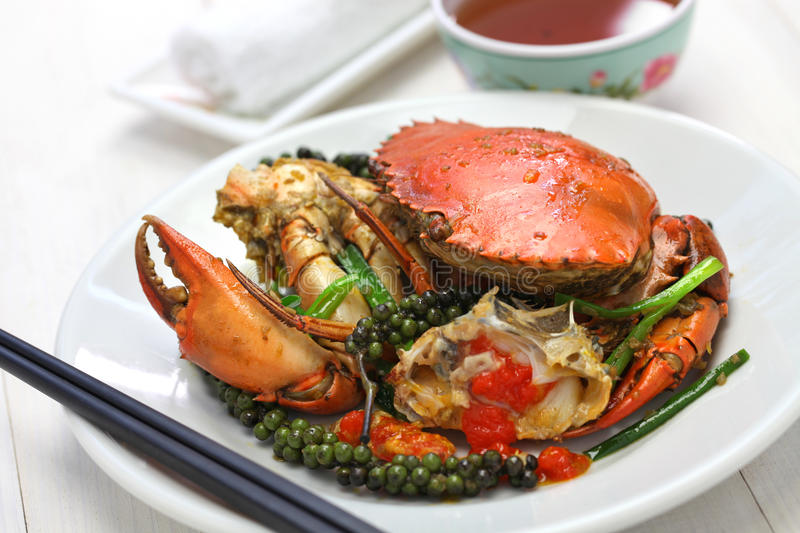 Kampot green pepper crab. Stir-fried crab with green kampot pepper, cambodian cuisine stock photography