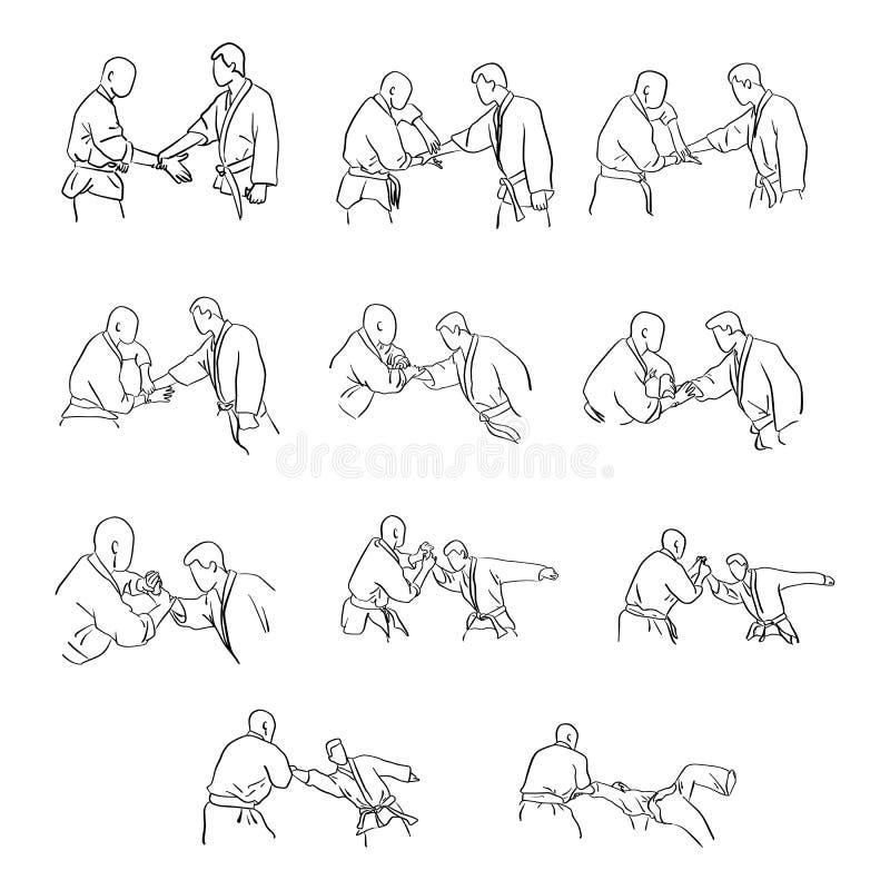 Kampsporter med handen låser ske för självförsvarvektorillustrationen royaltyfri illustrationer