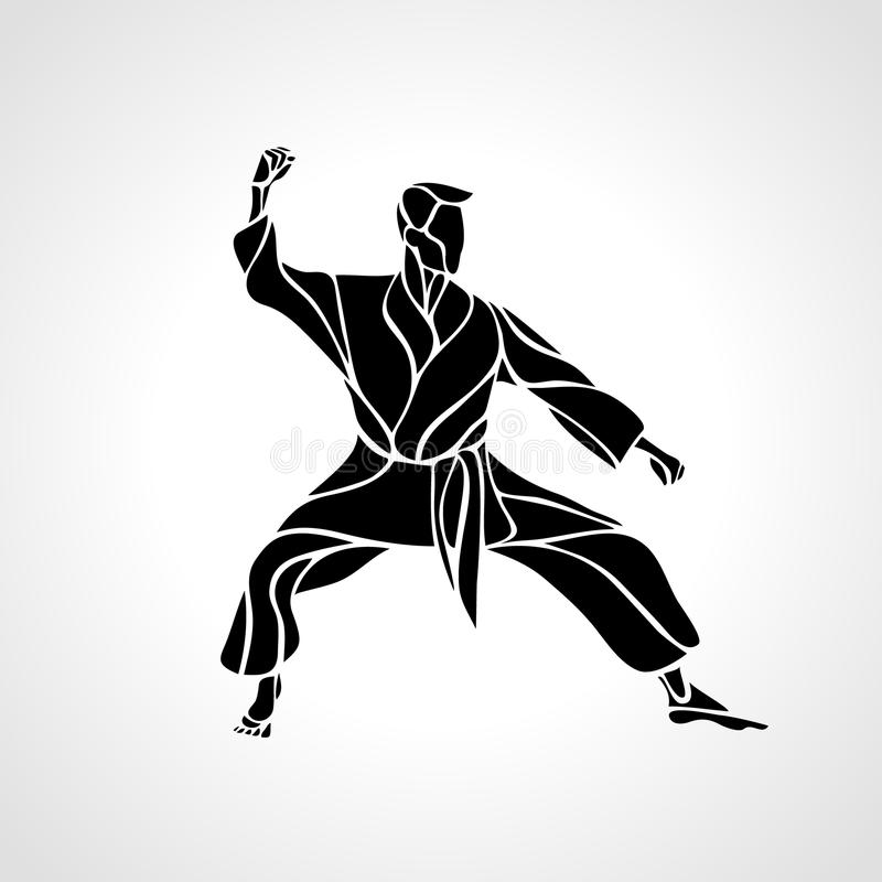 Kampsporter poserar konturn Karatekämpe vektor illustrationer