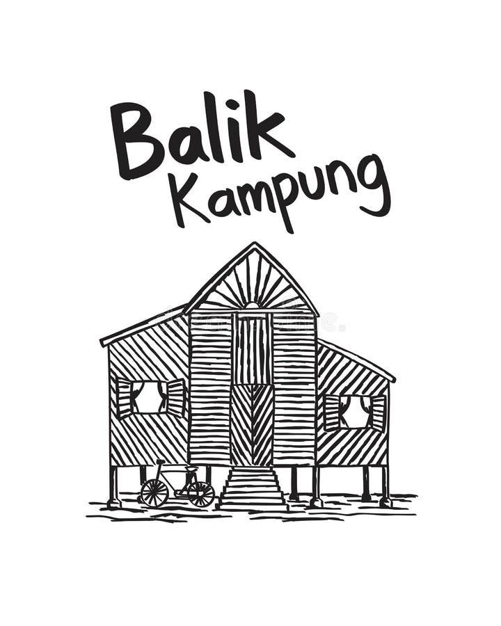 Kampung нарисованное рукой balik Малайзия стоковое фото