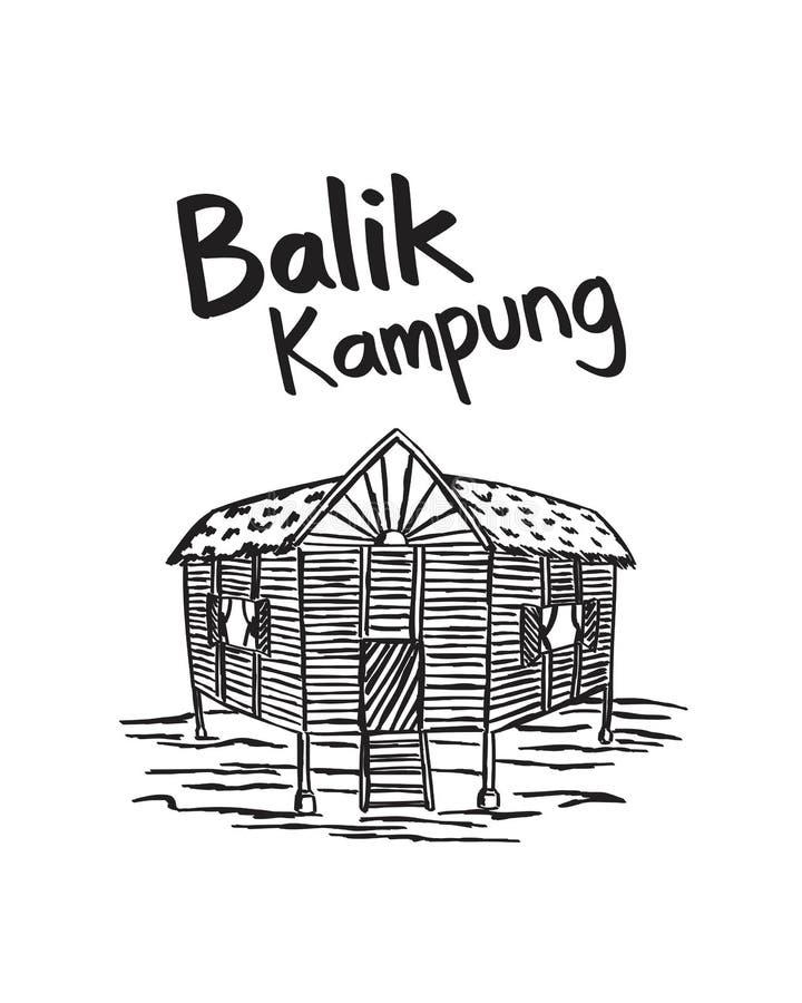 Kampung dibujado mano Malasia del balik fotografía de archivo libre de regalías