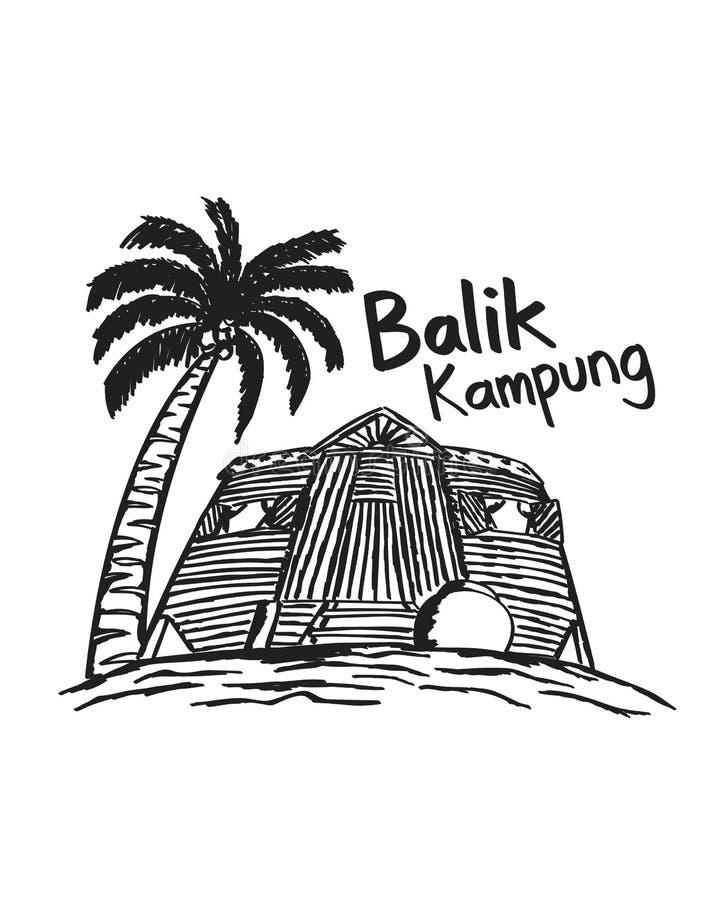 Kampung dibujado mano Malasia del balik imagenes de archivo