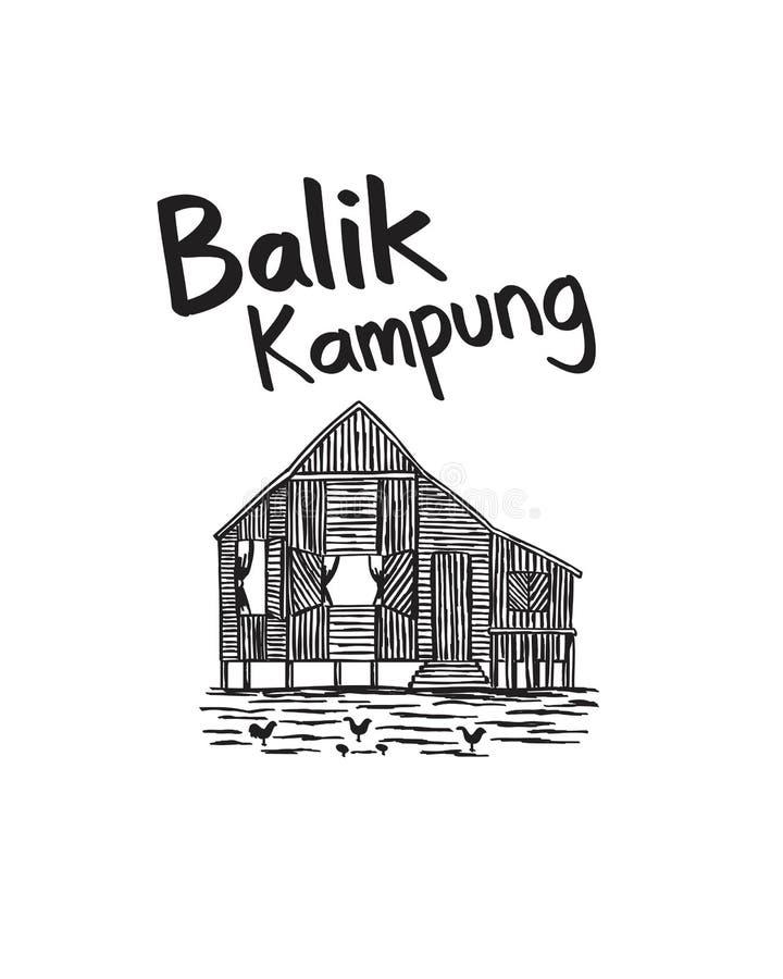 Kampung dibujado mano Malasia del balik para el día de fiesta imágenes de archivo libres de regalías