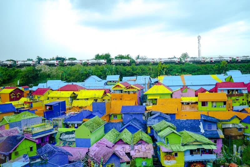Kampung Warna Warni玛琅 免版税库存照片